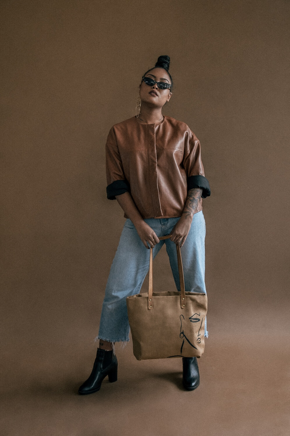 'Single Face' Dorothy Tote (Tan)